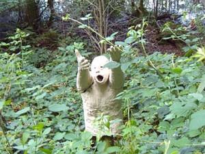 Sträucher und Pflanzen gekoppelt mit Kunst im Wald